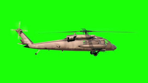Military Helicopter Black Hawk Side Green Screen 3D Rendering Animation