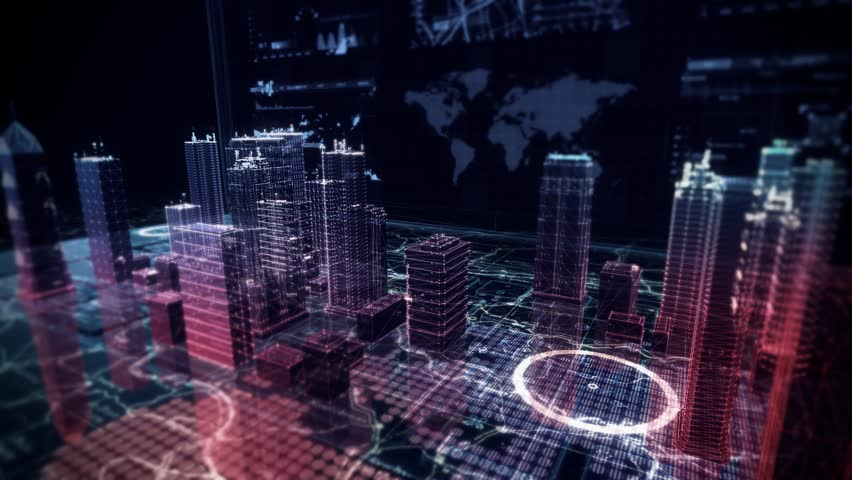Security Cyber Attack Simulation over Holographic Buildings displayed on top of Computer Laptop with Futuristic infographics and maps. | Shutterstock HD Video #27145771