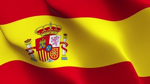 Spain flag waving seamless loop in 4K and 30fps. Spanish loopable flag with highly detailed fabric texture.
