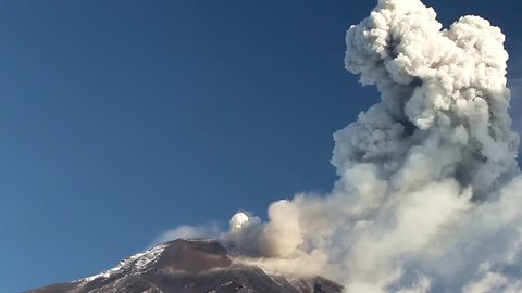 Tungurahua volcano in Ecuador,high presure gases and ash are blown into the sky