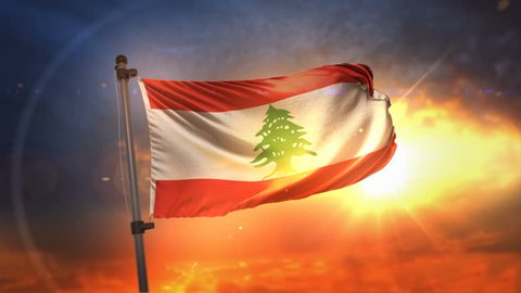 Lebanon Flag Backlit At Beautiful Sunrise Loop Slow Motion 4K