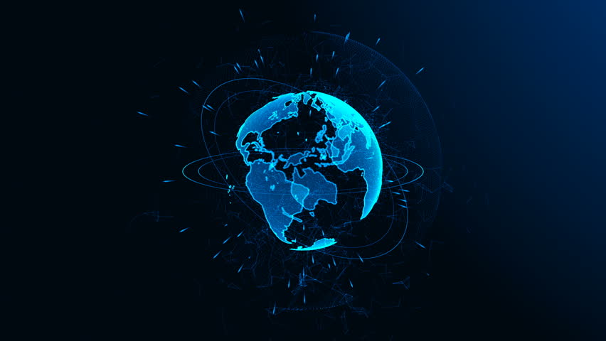 Rotation of a shining Planet Earth with particles. Abstract background with a blue planet #27216331