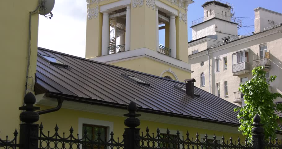 Video footage with view of Troitskii sobor cathedral erected in memory of Russian troops defeated French army in 1812 in surroundings of Podolsk town in central Russia, south of Moscow