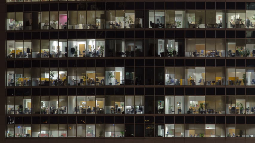 Close up view to office windows in Skyscrapers International Business Center City at night with Moscow river timelapse from top, Moscow, Russia. Pan right | Shutterstock HD Video #27237721