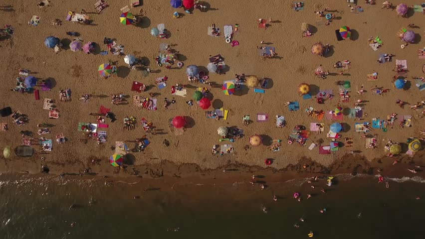 Aerial Drone High Flight Above Colorful Shamora Lazurny Bay Place Of Rest City Beach Waves Sand Vladivostok Crowd People Take Sunbath Relax In Sun