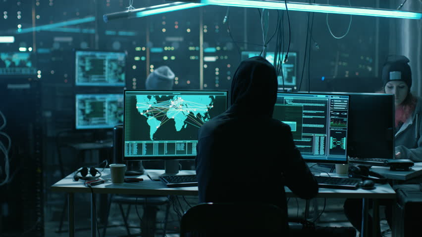 Team of Teenage Hackers Attack Global Infrastructure Servers. Display Showing Stages of Hacking in Progress: Exploiting Vulnerability, Executing and Granted Access. Shot on RED EPIC-W 8K Helium Camera   Shutterstock HD Video #27247471