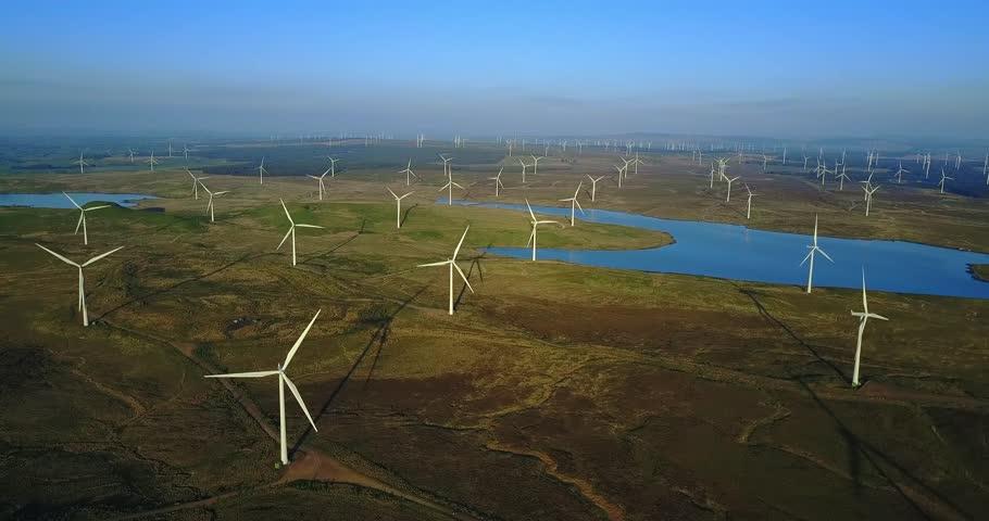 Aerial views of Scotland in 4K, Whitelee Wind Farm, Eaglesham, Glasgow, UK.