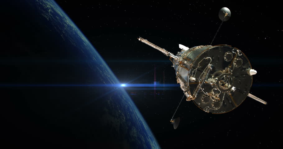 Hubble Space Telescope Silhouette Floating Away Above Earth Sunrise some elements furnished by NASA images
