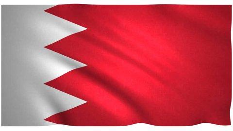 Flag of Bahrain waving on white background