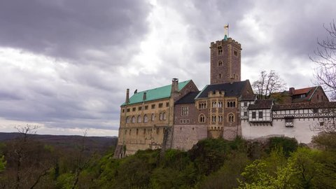 Wartburg, Germany - April 2017: Rainy clouds over the castle