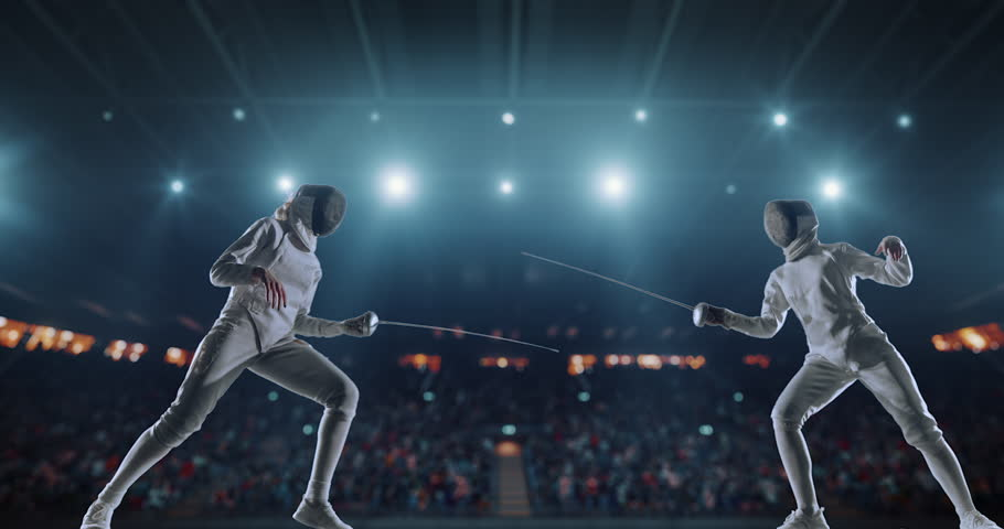 4K video in slow motion of two female fencing athletes. The action takes place on professional sports arena with spectators and lense-flares. Women wear unbranded sports clothes. Arena is made in 3D. | Shutterstock HD Video #27274321