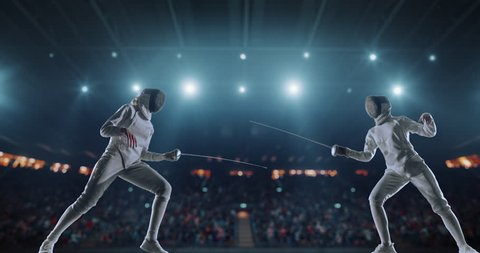 4K video in slow motion of two female fencing athletes. The action takes place on professional sports arena with spectators and lense-flares. Women wear unbranded sports clothes. Arena is made in 3D.