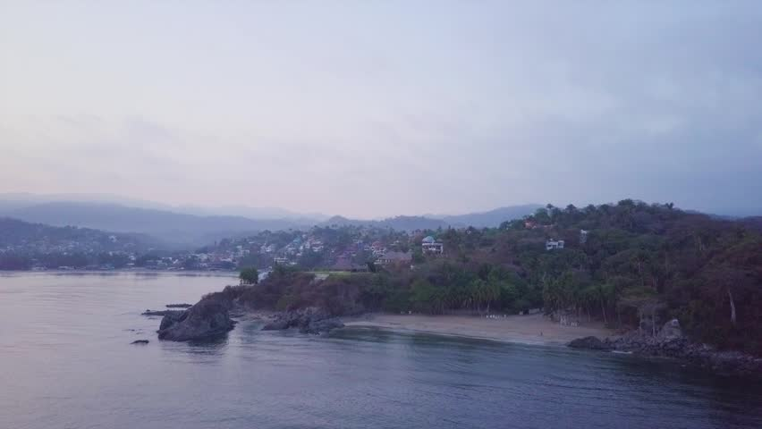 Flying over beach of the dead towards Sayulita Mexico at dawn.