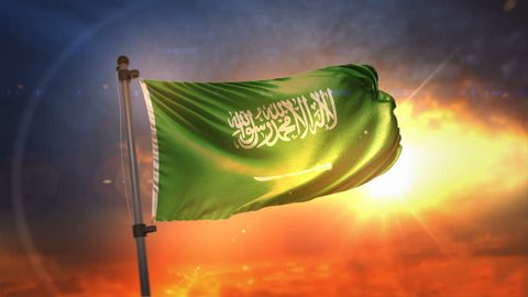 Saudi Arabia Flag Backlit At Beautiful Sunrise Loop Slow Motion 4K
