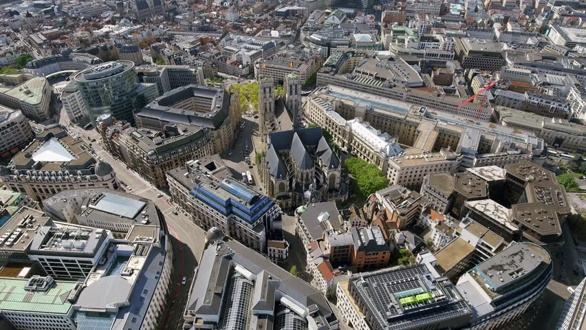 Aerial View Orbiting Gothic Brabant Church St Michael and St Gudula Cathedral in Brussels Belgium 4K | Shutterstock HD Video #27329671