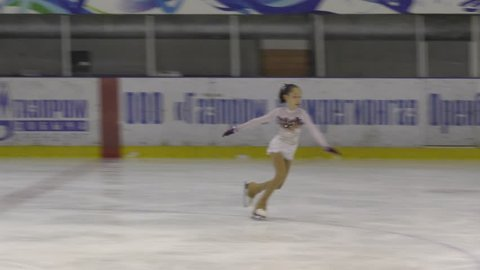 "Orenburg, Russia - March 25, 2017 year: Girls compete in figure skating ""Orenburg expanses"""