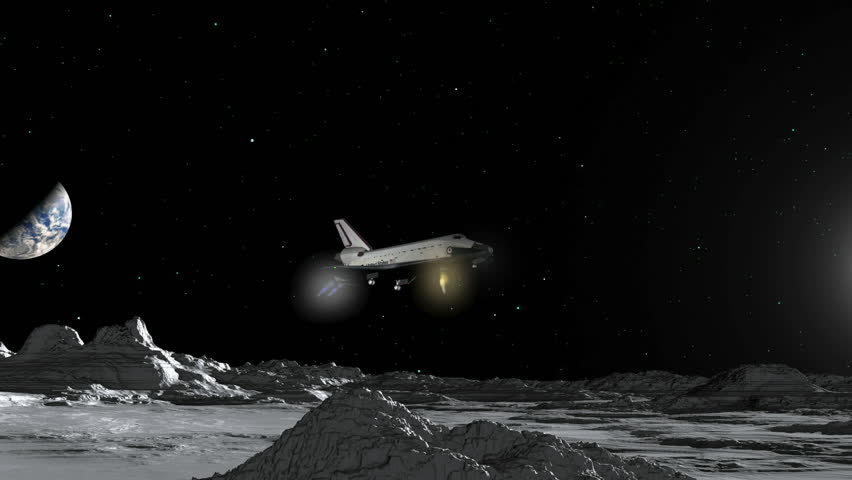 A fantasy Space Shuttle landing on the Moon. Animation.