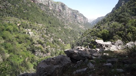 Qannubin Valley, Lebanon. View of the steep cliffsides of the gorge known as the Holy Valley as it has sheltered Christian communities for centuries.
