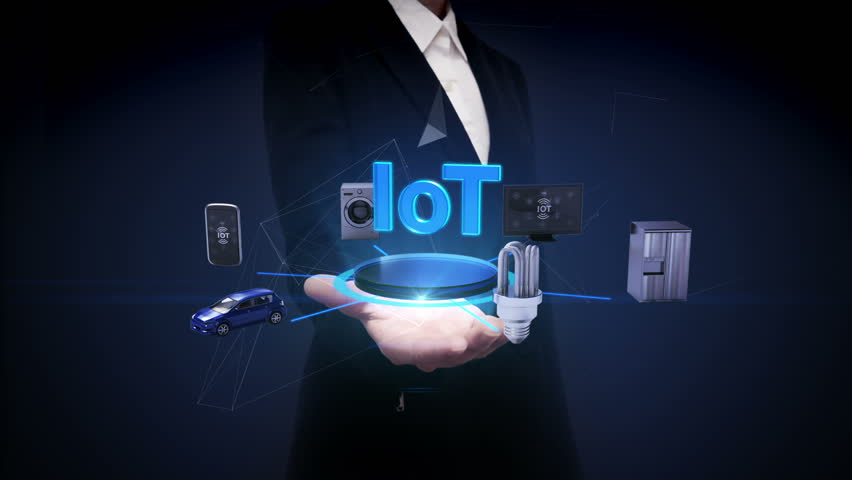 Businesswoman open palm, IoT technology connecting mobile, car, energy saving, washer, refrigerator, smart home devices, Internet of things concept. | Shutterstock HD Video #27376951