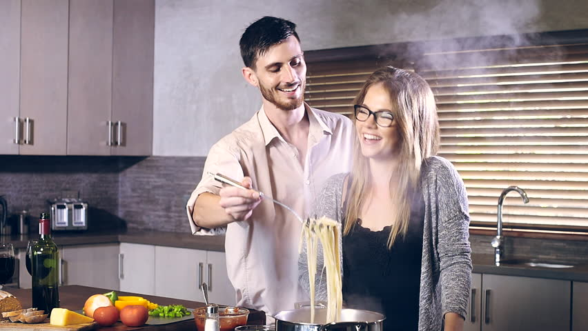 Young Couple Friends Preparing Cooking Healthy Dinner Lunch Spaghetti Drinking Wine Hd Stock Fooe Clip