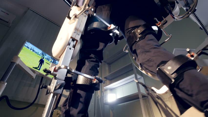A patient going through robotic rehabilitation.