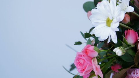close-up, Flowers, bouquet, rotation on white background, floral composition consists of hydrangea, Chrysanthemum bacardi, Rose lydia, Rose pion-shaped, eucalyptus