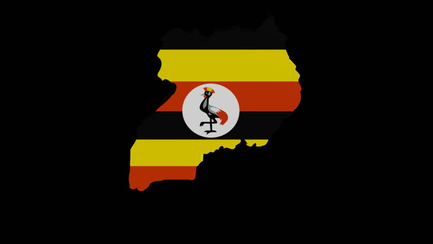 Uganda map flag rotating on black animation | Shutterstock HD Video #2743991