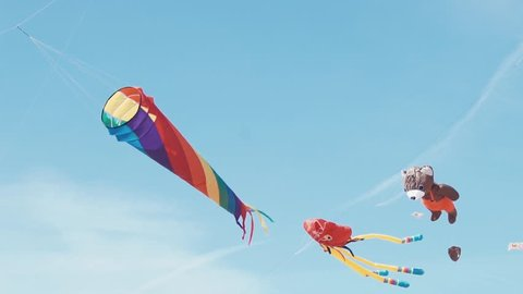 Many colourful kites in flight against blue sky and sunny day. Kite flying in the shape large rainbow flies in the sky