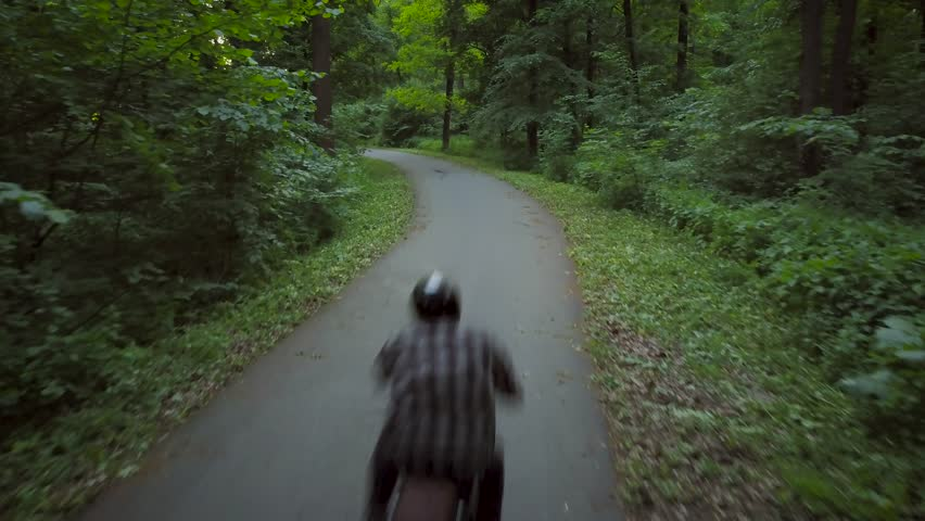 Biker riding a motorcycle on a road surrounded by trees | Shutterstock HD Video #27443275