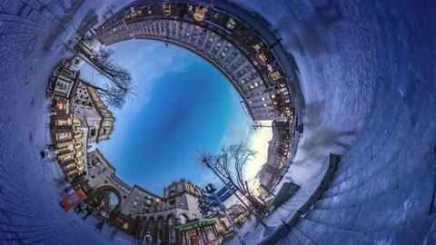 It's Getting Dark on Khreshchatyk, Spherical, Panorama Video 360 Degree Rabbit Hole Planet. Crowd of Citizens and Tourists Are Crossing the Place. Bare Branch Trees, Cobblestone, Facades of Vintage