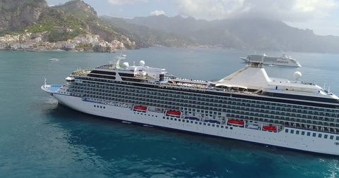 aerial View of Big cruise ship came to Amalfi at Italy