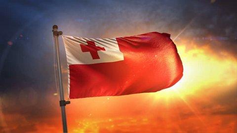 Tonga Flag Backlit At Beautiful Sunrise Loop Slow Motion 3D Rendering 4K