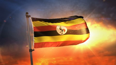 Uganda Flag Backlit At Beautiful Sunrise Loop Slow Motion 3D Rendering 4K