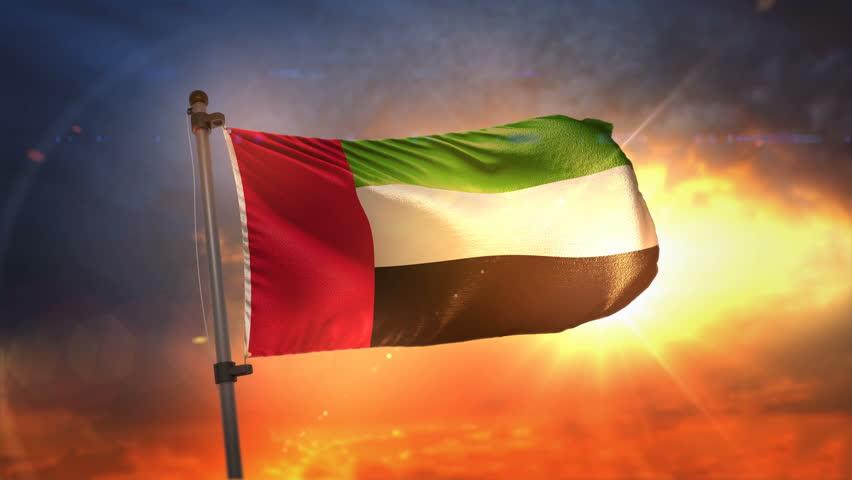 United Arab Emirates Flag Backlit At Beautiful Sunrise Loop Slow Motion 3D Rendering 4K | Shutterstock HD Video #27458611