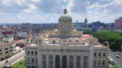 Drone flying over Old Havana, Cuba: Museum of the Revolution in Habana Vieja district. Aerial view of La Habana, Cuban capital city. Urban landscape from the sky with building, landmark, monument