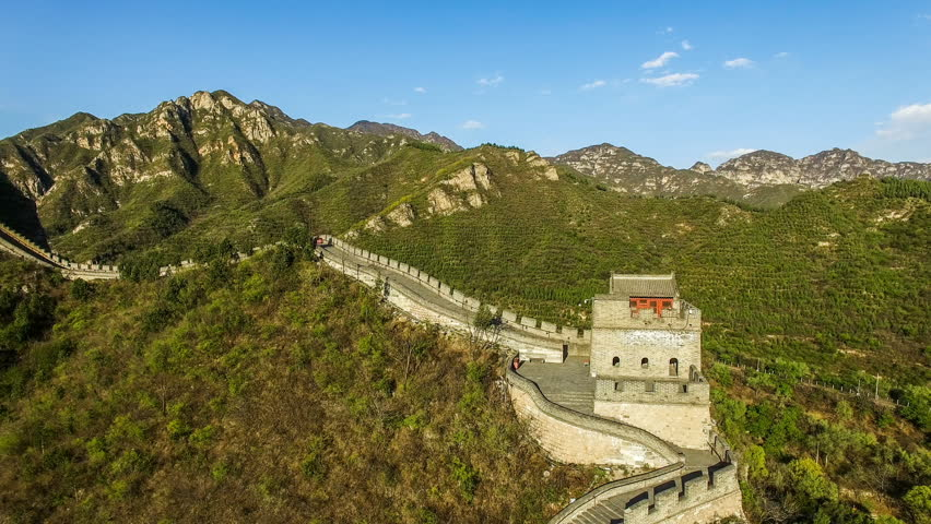 The fabulous scene of the Juyongguan Great Wall view from the sky in Beijing, China