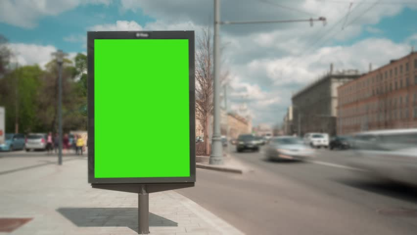 Time Lapse. A Billboard with a Green Screen on a Busy Street. | Shutterstock HD Video #27517951