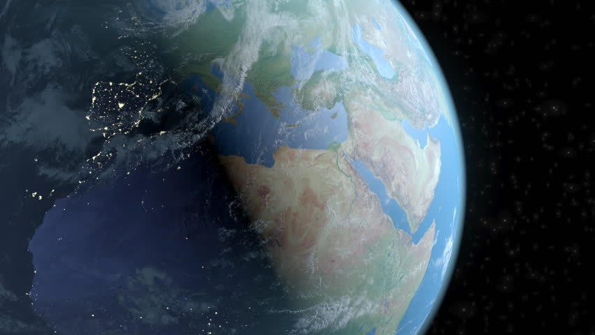 Earth space extruded turning spinning globe world blue marble earth complete spin loop close up to northern hemisphere night to day gumiabroncs Choice Image