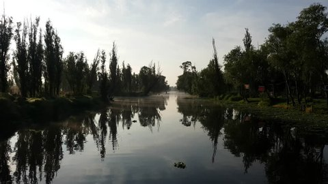 Traveling across the foggy Xochimilco River with trees and some forest behind and birds flying in the sunrise in Mexico City