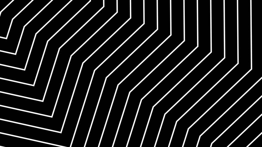 Abstract CGI motion graphics and animated background with moving black and white shapes