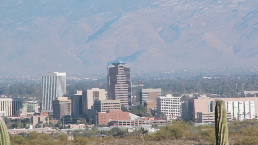 Downtown Tucson with shimmering heat waves