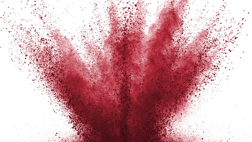 Red powder exploding on white background in super...