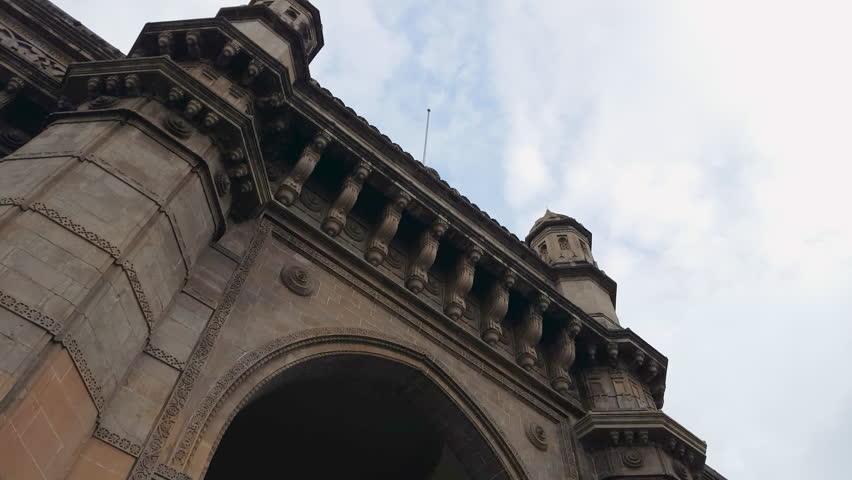 INDIA - CIRCA JUNE 2016 - Gateway of India, famous monument, low angle, Mumbai