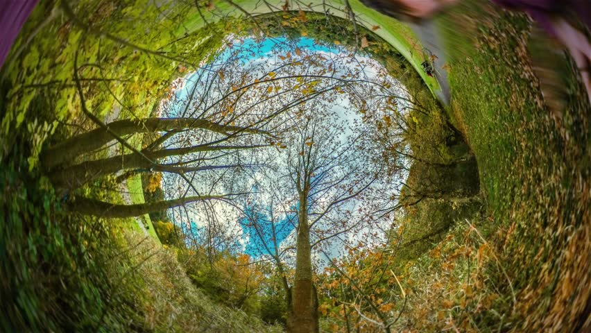 Spherical Panorama, Video 360 Degree Rabbit Hole Planet 360 Degree, Timelapse. Recreation in Park, People Walking by Footpath, Alley. Planet For Tourism, Traveling the World. Opole Sights, Tour to