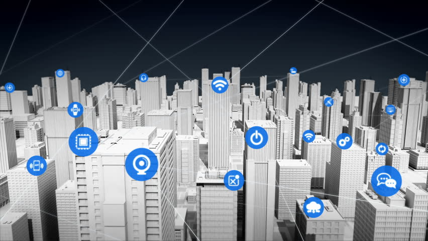 Various things sensor icon on Smart city, connecting INTERNET OF THINGS technology. | Shutterstock HD Video #27621961