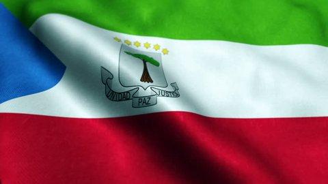 Flag of Equatorial Guinea Beautiful 3d animation of Equatorial Guinea flag in loop mode