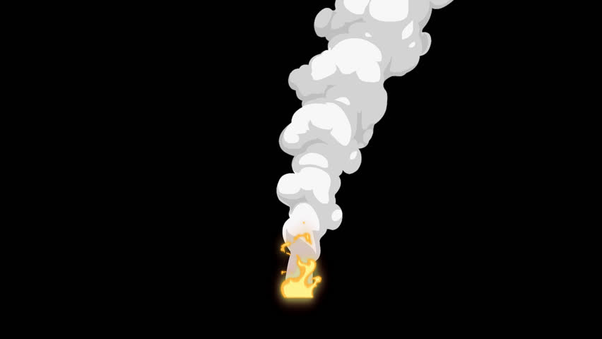 Fire And Billowing Smoke White 2D Animation Loop Alpha Channel
