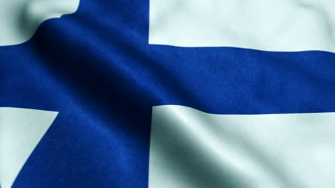 A beautiful satin finish looping flag animation of Finland. A fully digital rendering using the official flag design in a waving, full frame composition. The animation loops at 8 seconds.