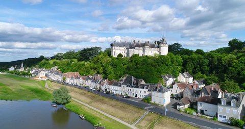 France, Loir et Cher, Loire valley listed as World Heritage by UNESCO, Chaumont sur Loire, Aerial view of the castle, 4K, UHD (4096X2160)