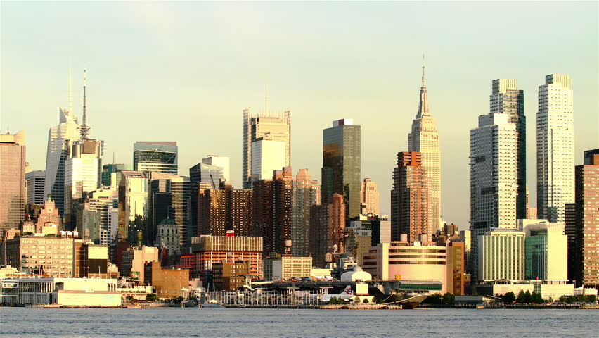 Beautiful view of Manhattan skyline from New Jersey at sunset, time lapse | Shutterstock HD Video #2772191